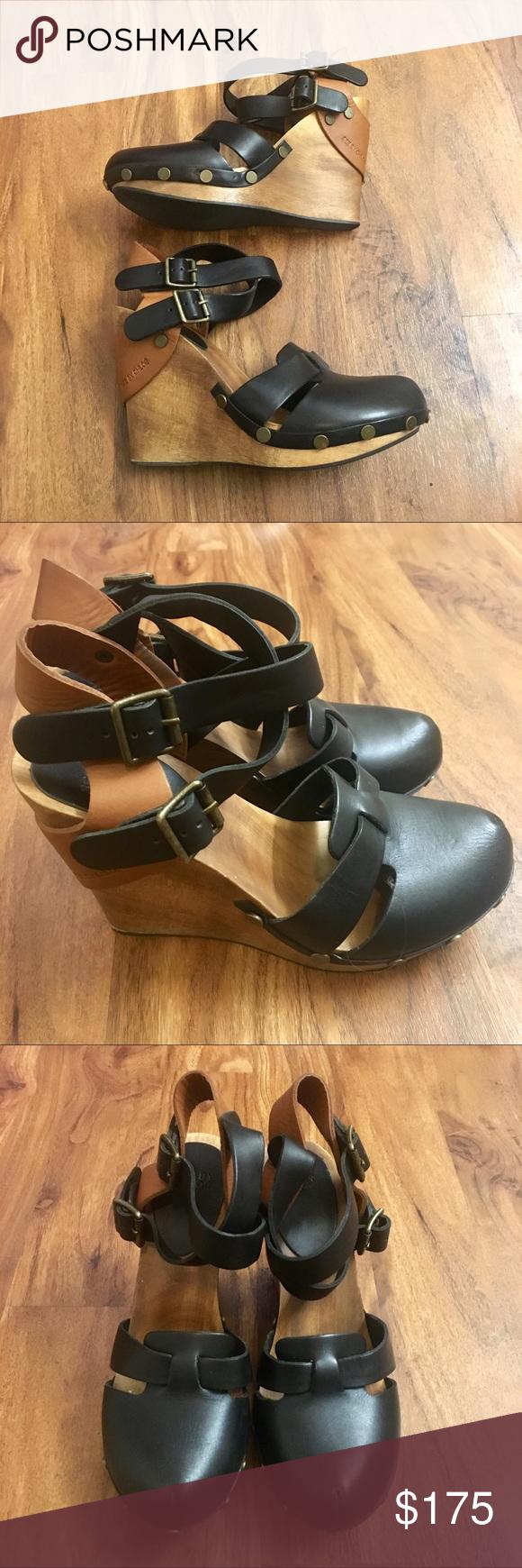 4f02ef681ed See by Chloe Wedge Heels Wood Leather Brown Black Really cool See by Chloe  platform wedges
