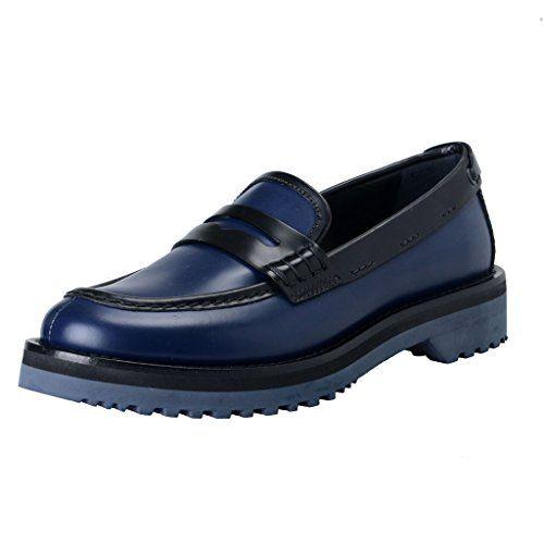 PRADA Car Shoe By Prada Women'S Blue & Black Leather Loafers Shoes. #prada #shoes #shoes