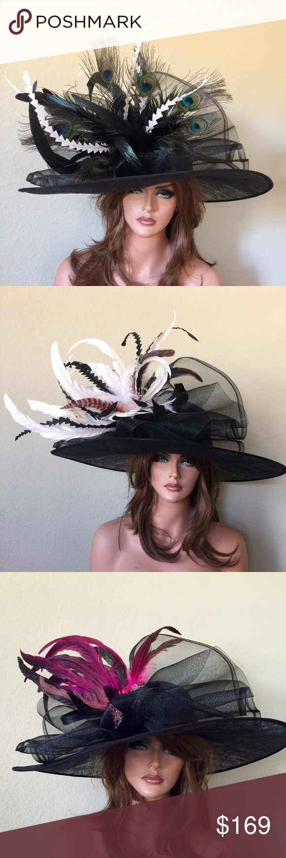 Black Wide Brim Peacock Kentucky Derby Hat This is a black base hat with feathers of your choice. Can custom match any outfit. Jenifer Buckley Hats Accessories Hats