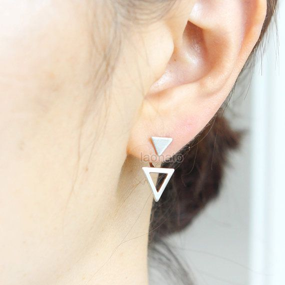 Arrows Front back Earrings / ear jackets, Choose your color / gold and silver