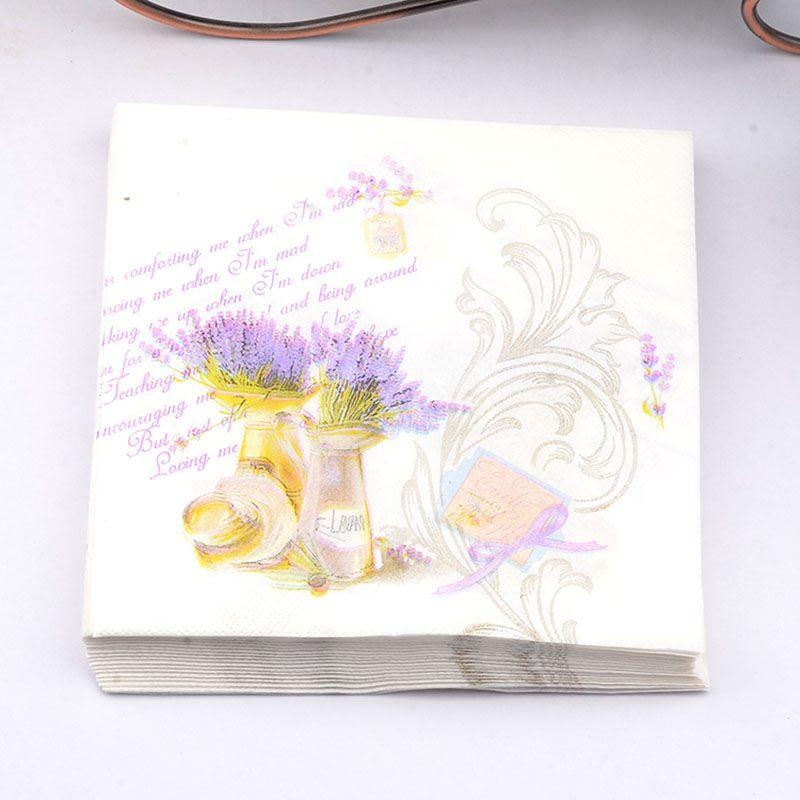 New 20pcs Lot Lavender Purple Paper Napkin Wedding Table Dinner Tissues Party