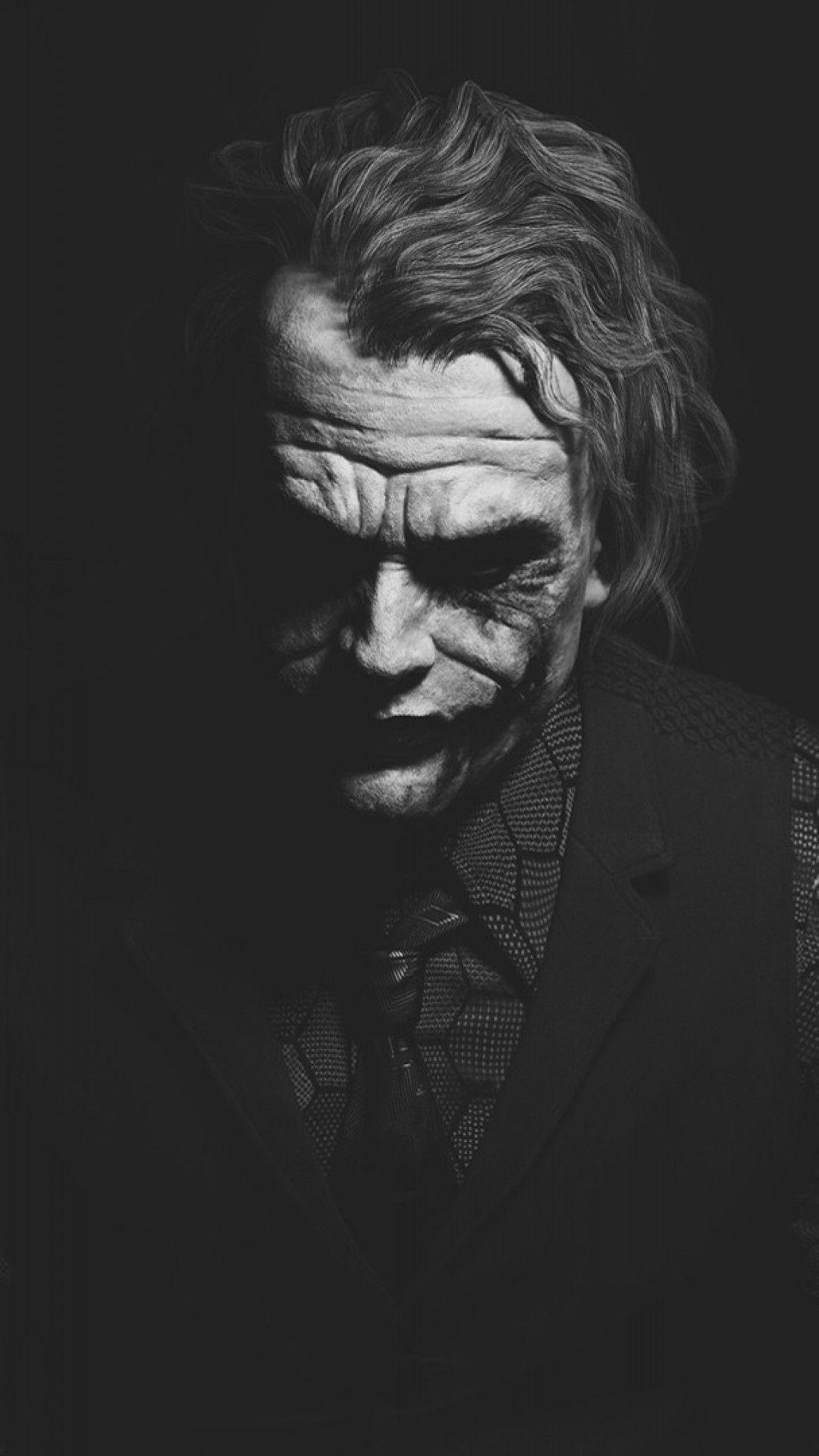 Download 1080X1920 Heath Ledger, Joker, Monochrome, Batman
