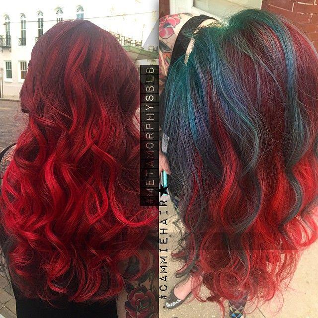 Red And Teal Hair With Undercut Teal Hair Dye Teal Hair