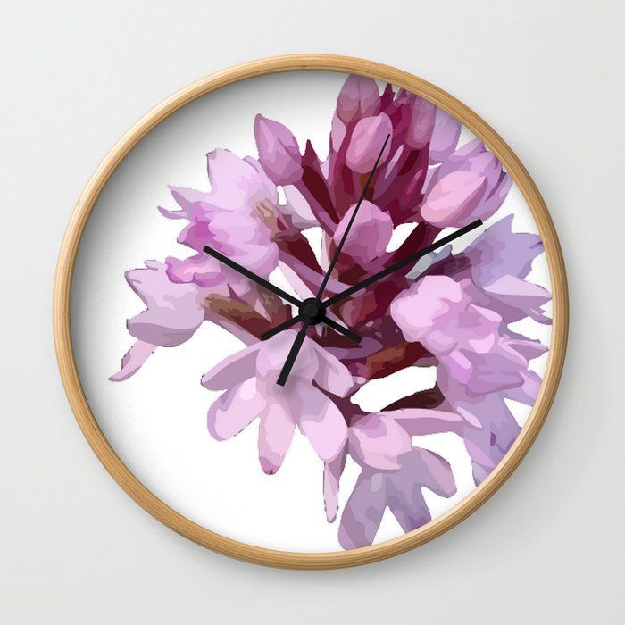 PinkOrchid #Wildflower #WallClock by taiche | Society6 Good times! Rethink the traditional timepiece as functional #walldecor. Cool #artistic #designs Wall #Clocks. #ATSocialMediaUK @Society6