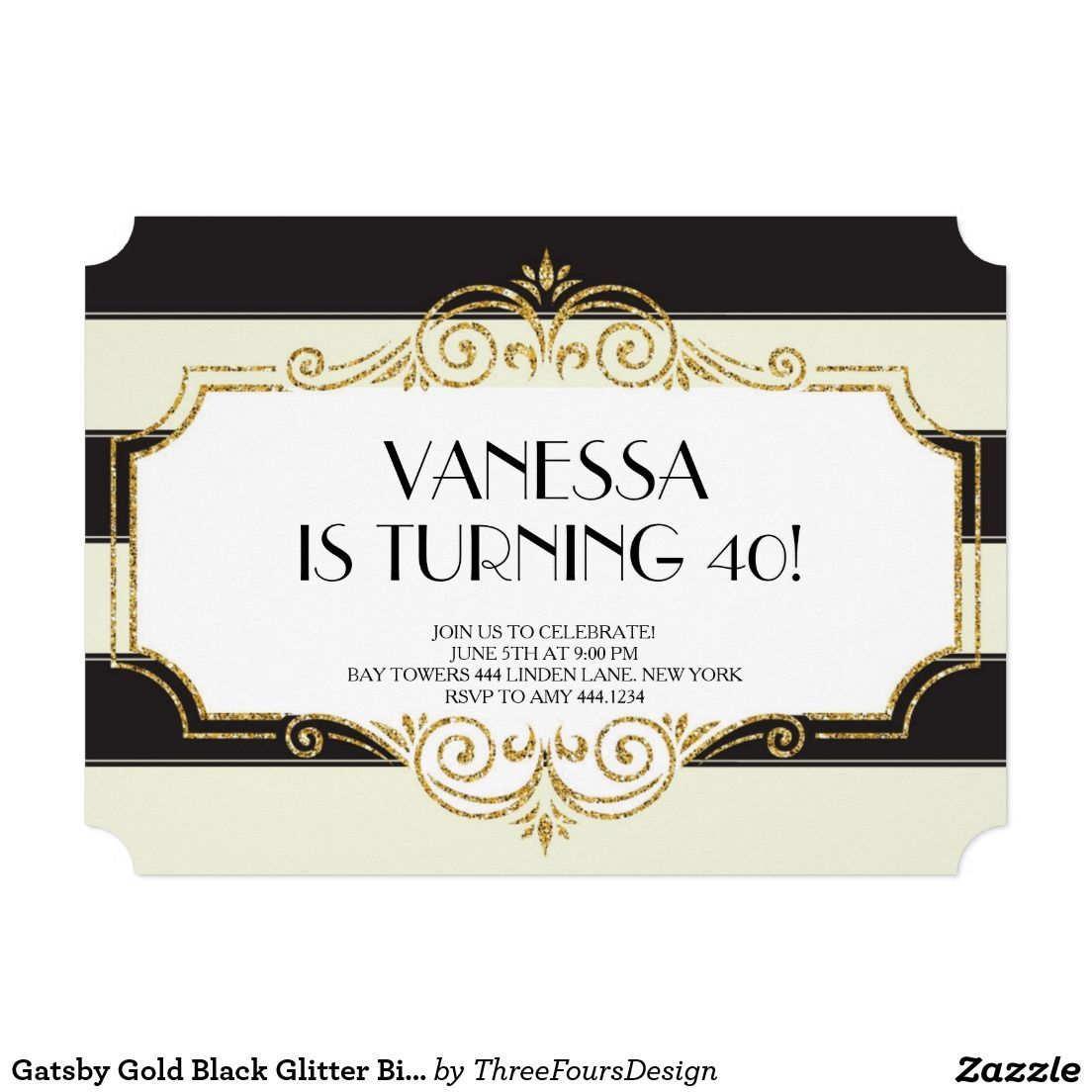 Gatsby Gold Black Glitter Birthday Invitations | Glitter birthday ...