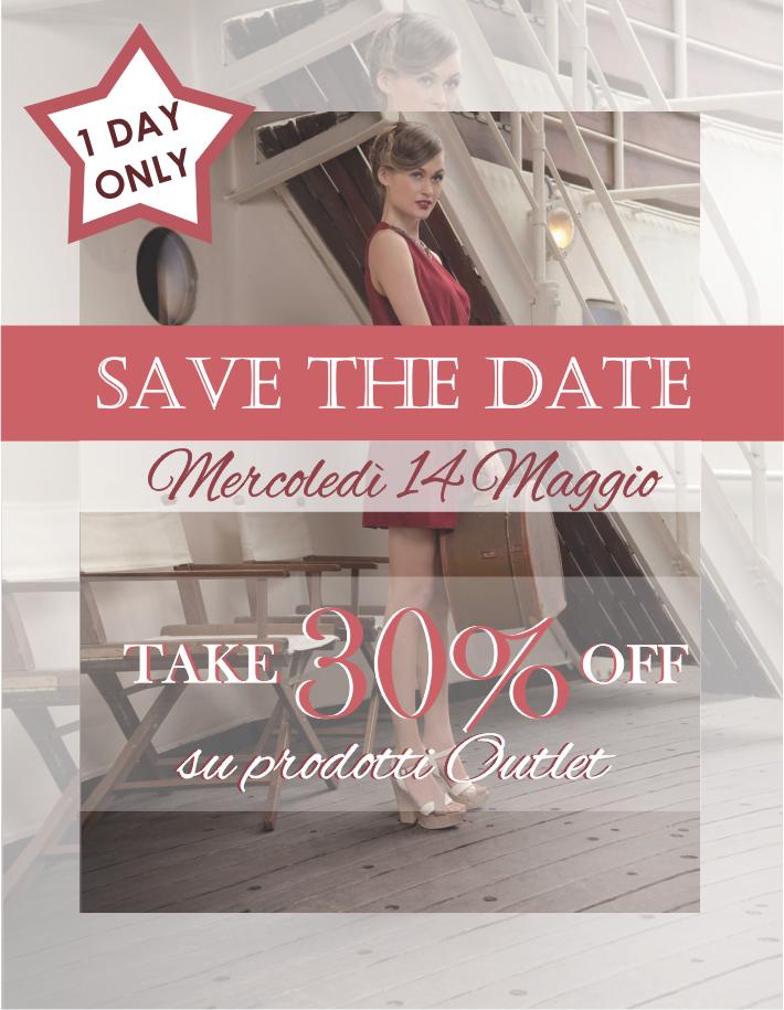 SAVE THE DATE...  solo mercoledì 14 maggio nello shop online Andrea Morelli i prodotti outlet sono scontati del 30%  goo.gl/whX64E