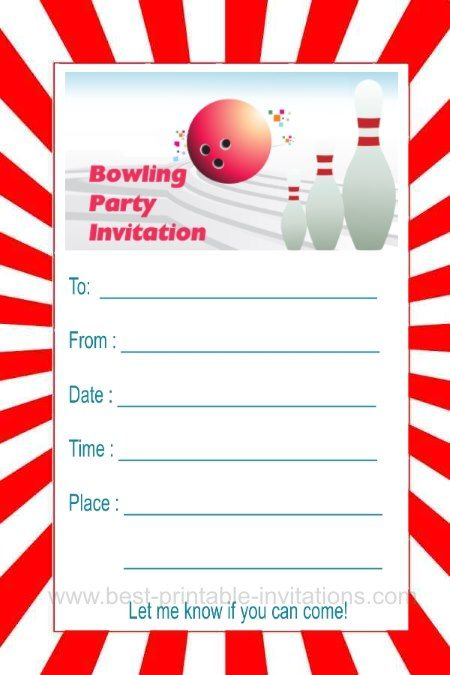 Bowling party invite - free printable invitation with red and white - Free Printable Bowling Party Invitations
