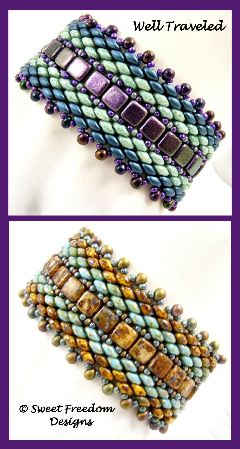 Superduo Pattern For Beaded Bracelet Czech 2 Hole Tile