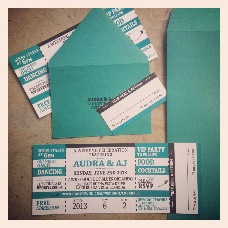 movie ticket stub wedding invitation%0A Concert Ticket Wedding Invitation with RSVP tearoff stub         via Etsy