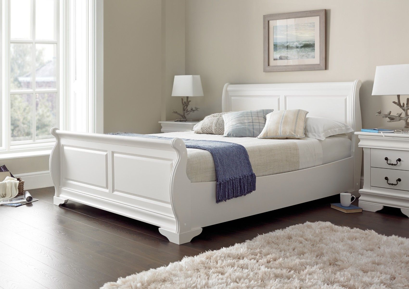 Louie Sleigh Bed Polar White NEW White wooden bed