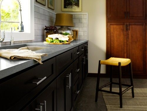 Black with grey counter tops