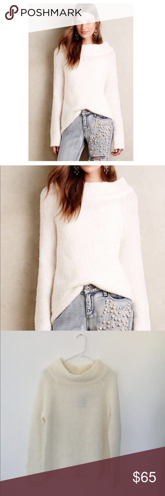 Anthropologie Moth Cowl Neck Sweater in Ivory NWT | Cowl neck ...
