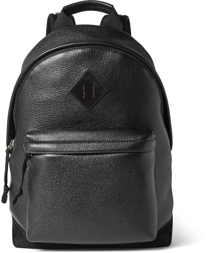 8565fa5bf3 TOM FORD Suede-Trimmed Full-Grain Leather Backpack