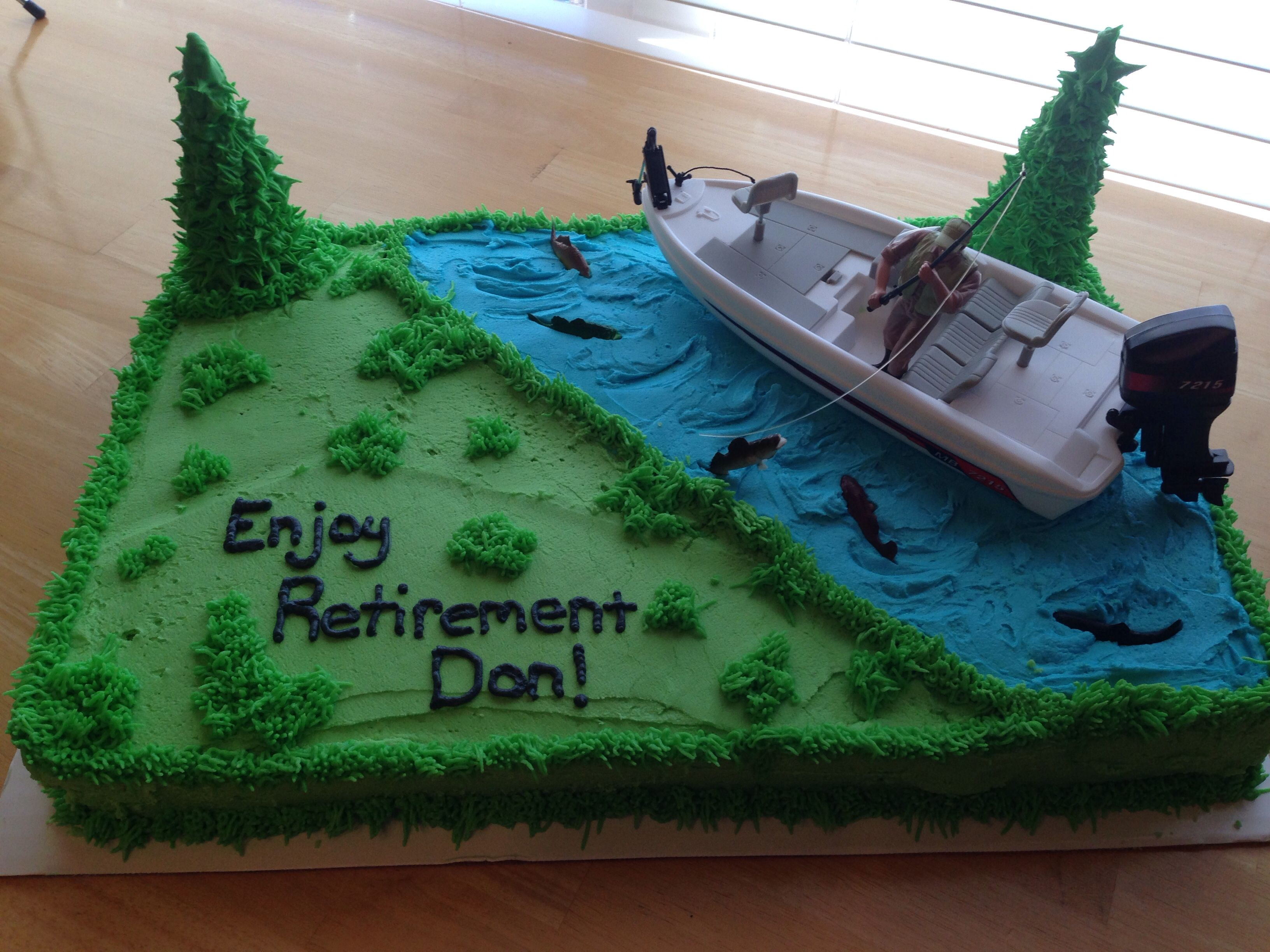 Fishing retirement cake i did for my dad retirement