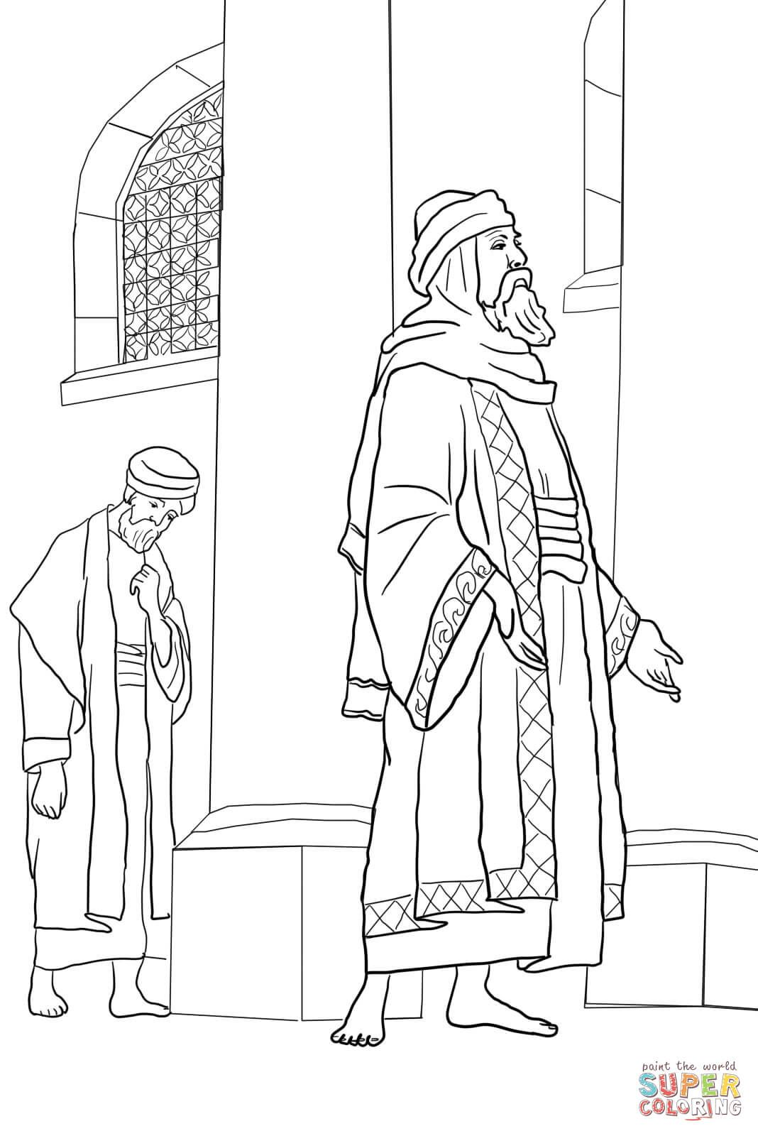 pharisee and the publican coloring page free printable