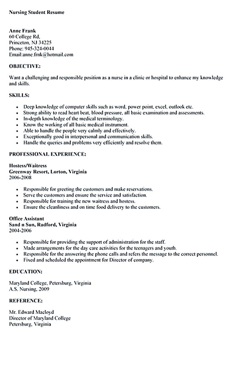 Nursing student resume must contains relevant skills experience – Nursing Student Resume