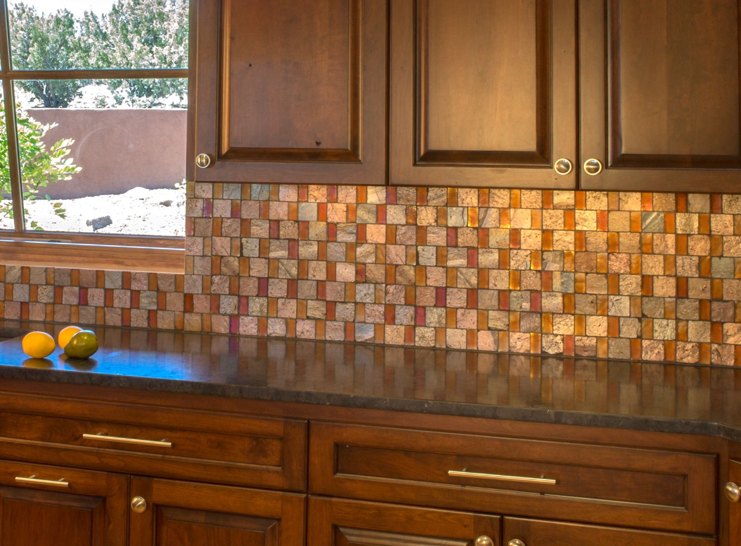 Kitchen By Statements Copper Quartzite And Amber Colored Glass