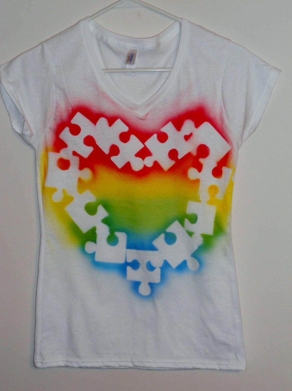 Autism Awareness Tee shirt - Puzzle piece, multi color. $16.00, via Etsy.