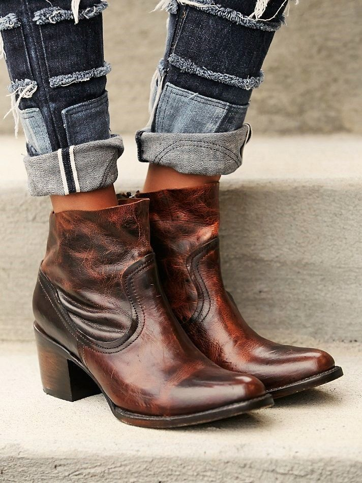 bcaefb192c8 Free People FREEBIRD SALT BOOTS Distressed Leather Ankle Cowboy Boho ...