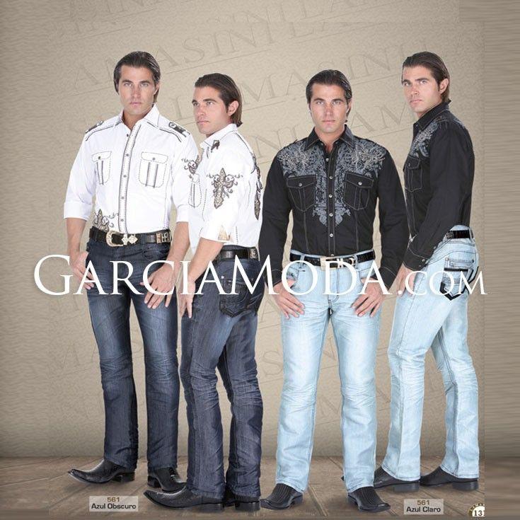Pantalón Lamasini Jeans 561 Pantalón Mezclilla Corte Ajustado con Bolsillos traseros de Diseño