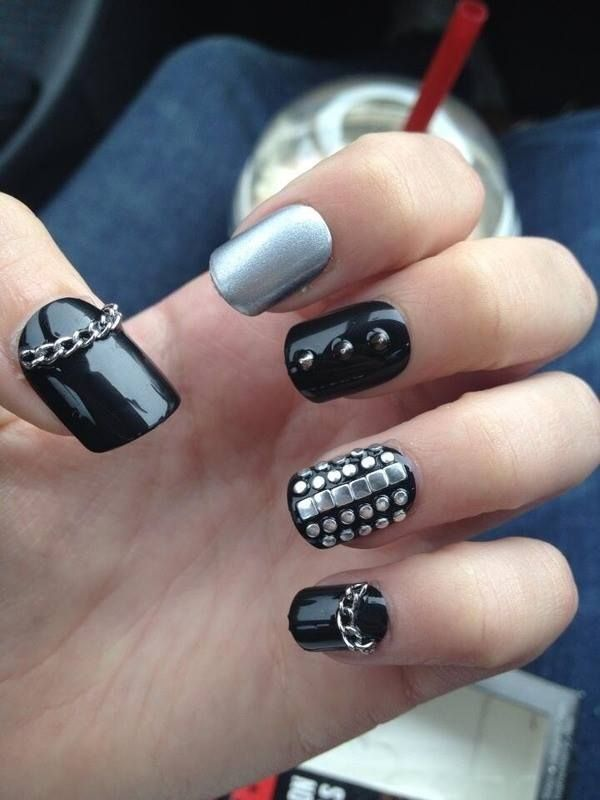 edgy nails, black studs and chain - Love The Chain & Chrome On These Hair & Beauty Pinterest Biker