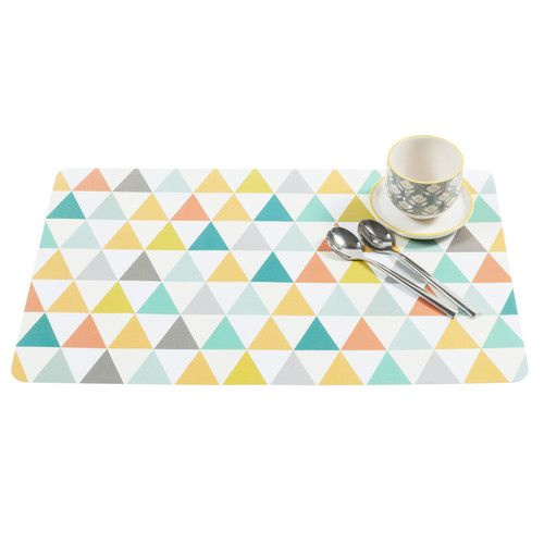 Set de table motifs triangle en plastique multicolore VINTAGE | Déco ...