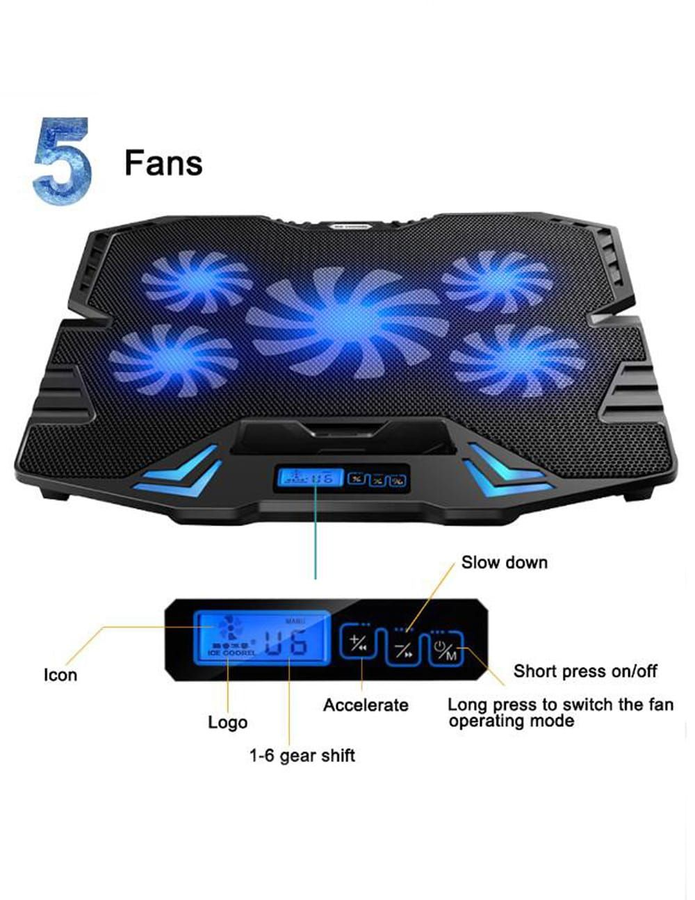 Cooling Pad For Laptop Notebook With Led Touch Screen Speed