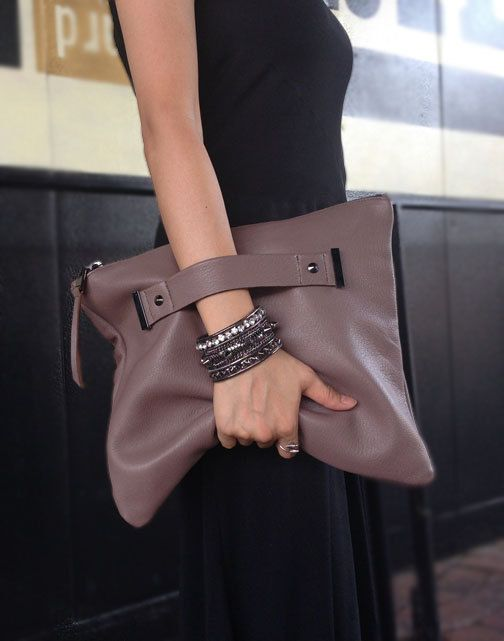 022bccc4920a Genuine leather oversize foldover clutch with handle strap by AEHEE on Etsy  https
