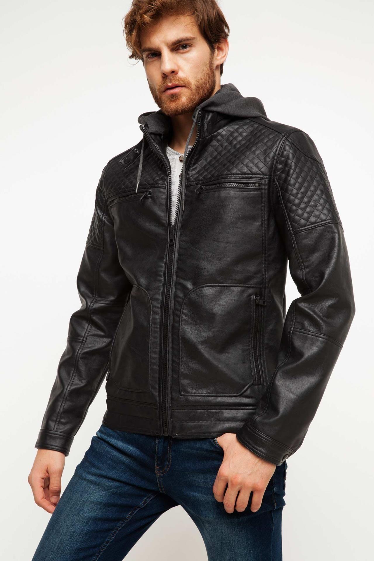 Defacto Marka Suni Deri Ceket Dar Kesim Modeliyle Gunluk Sikliginizin Garantisi Defacto Erkek Suni Deri Ceket Leather Jacket Fashion Leather