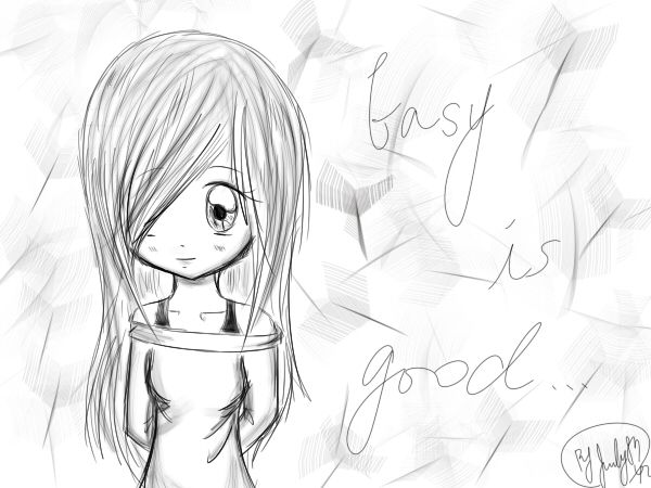 Easy cool drawings anime girl of people wallzip for Easy things to draw for girls