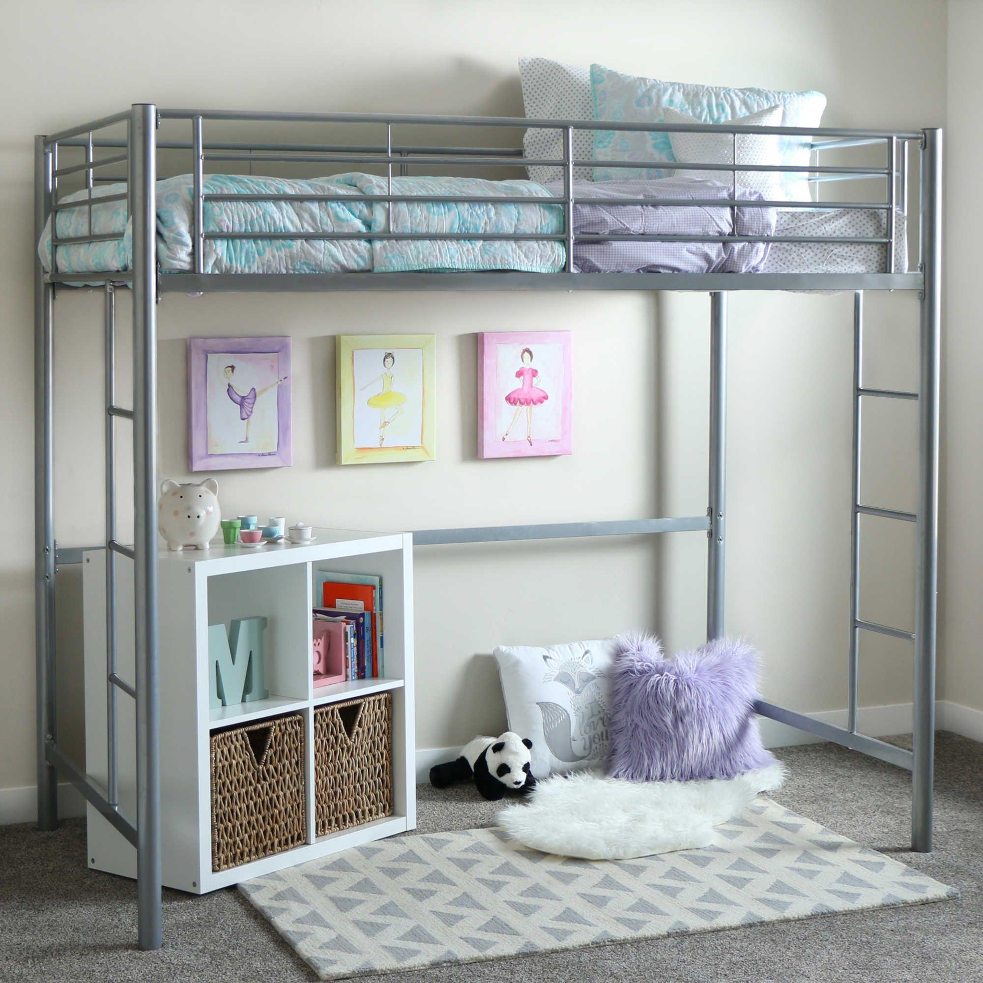 Pink Or Silver Twin Size Metal Loft Bed Frame Kids Bunk Bedroom Dorm Space Saver Furniture Home Garden