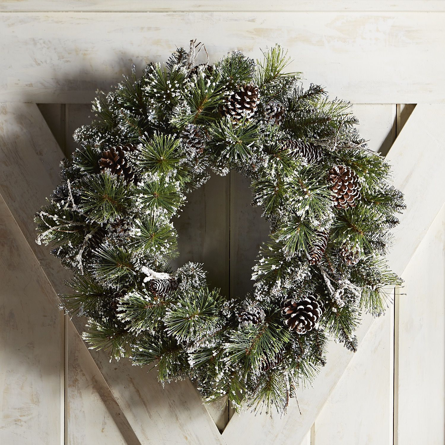 "Oversized 26"" Faux Pine Sparkle Wreath Green"