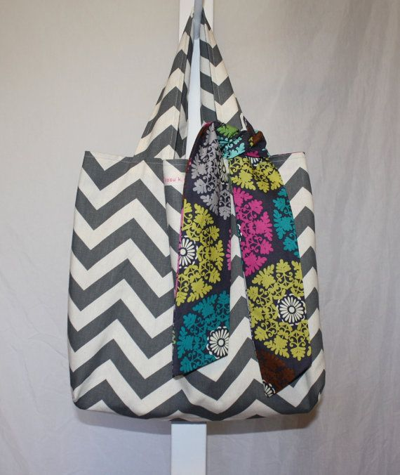 Love this reversible gray chevron and geometricfloral print by KazuKdesigns.