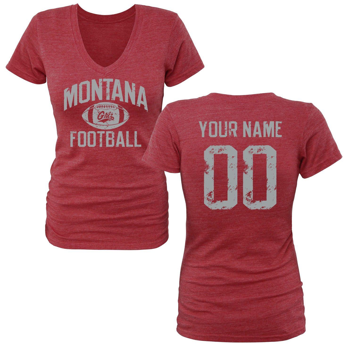 1315174242c Montana Grizzlies Women's Personalized Distressed Football Tri-Blend V-Neck  T-Shirt - Garnet - $42.99