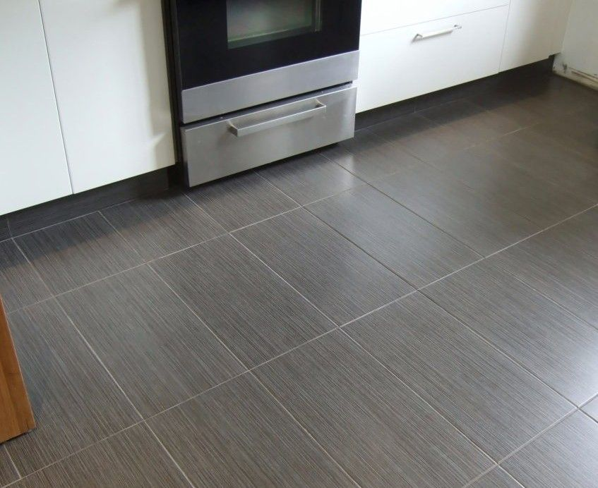 Love These Big Square Grey Tiles For The Kitchen And Dining Area Livingroom Pinterest Grey Cabinets Grey And Cabinets