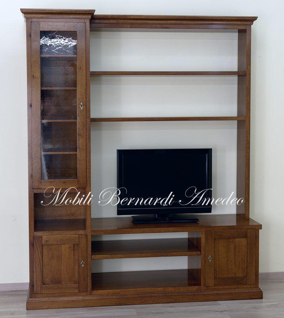Mobili Soggiorno Classici Legno parete attrezzata in legno massello di noce, porta tv stile