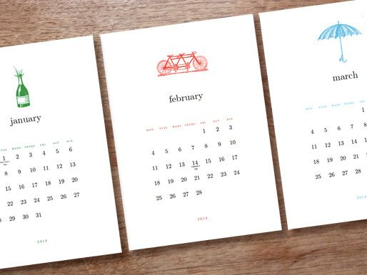 2013 Calendar Printable - Simple Woodcuts - January, February, March - perpetual calendar template
