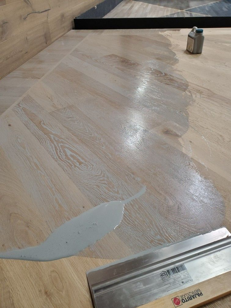 Wire Brushed White Oak Floor Panel With Some Waco Grey Penetrating
