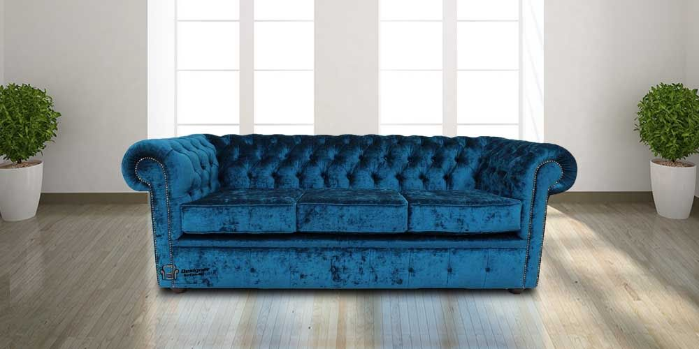 Contemporary Choose this blue velvet fabric Chesterfield settee at DesignerSofas4U We sell made to measure Chesterfield sofas chairs & footstools Elegant - Simple Elegant fabric chesterfield sofa Amazing