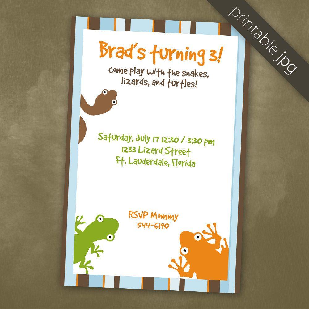 Printable Birthday Reptiles Party Invitation - DIY. $10.00, via Etsy ...