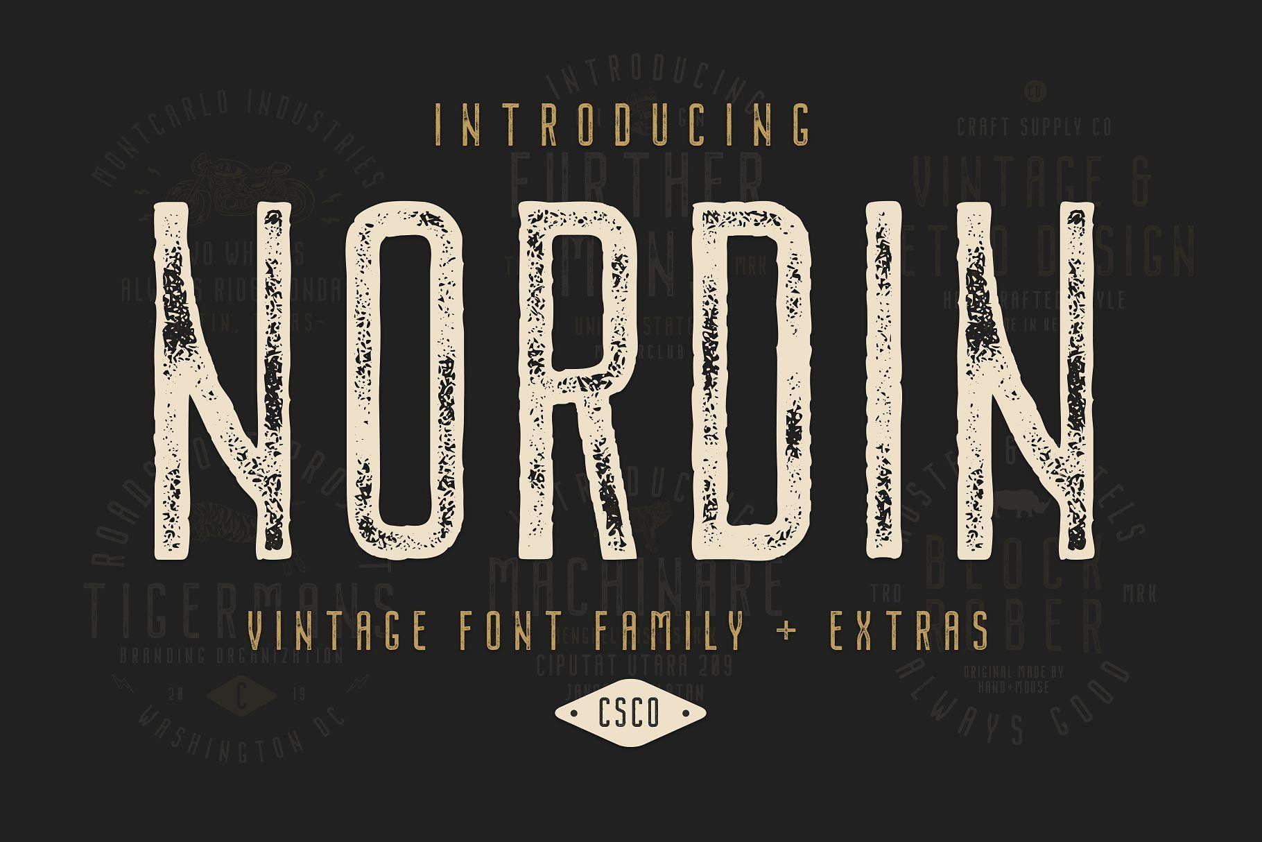 Nordin Vintage Font Family Extras Vintage Fonts Retro Font Font Bundles
