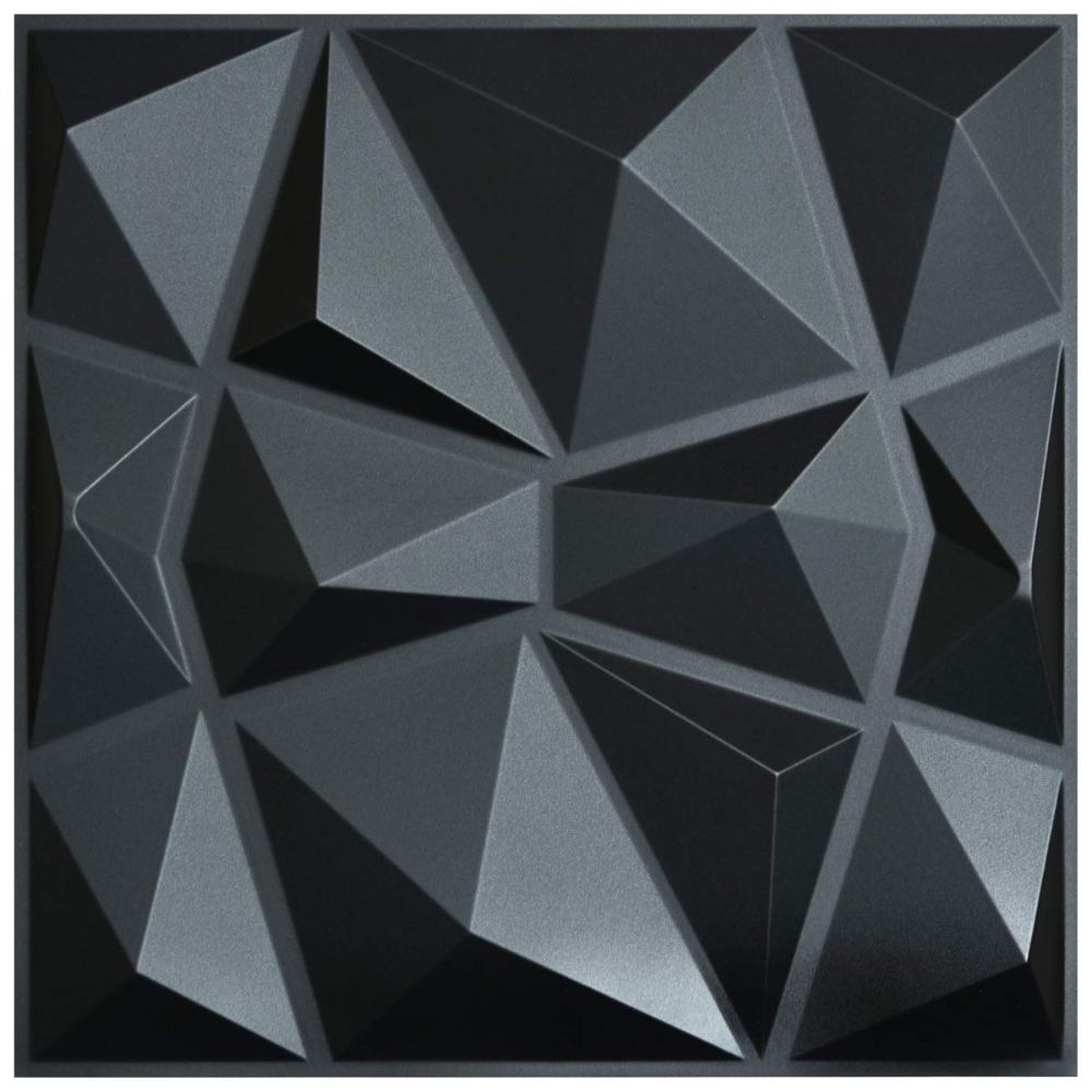 3d Paneling Textured 3d Wall Design Black Diamond 32 Sq Ft 19 7 X 19 7 Pvc 12 Pack Walmart Com In 2020 Wall Panel Design Pvc Wall Panels Vinyl Wall Panels