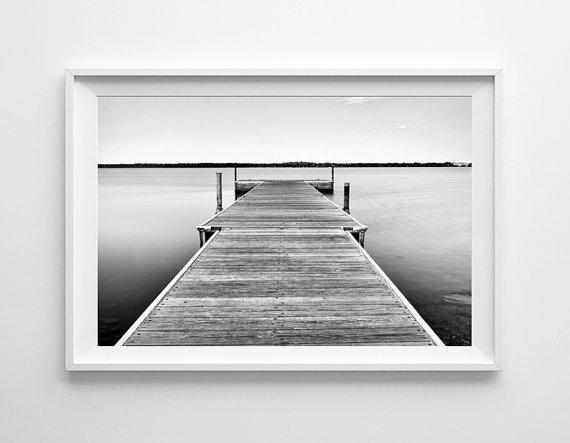 Minnesota art lake bemidji dock nautical decor beach art black black and white landscape photograph of a dock on lake bemidji minnesota this peaceful fine art print would make a great piece of nautical decor in any freerunsca Gallery