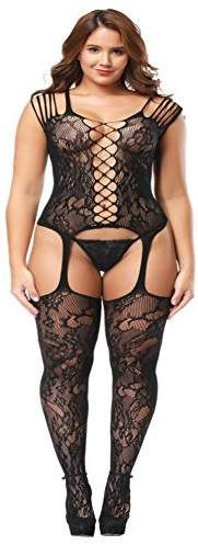 17abfa45dca Deksias Fishnet Bodystocking Plus Size Crotchless Bodysuit Lingerie for  Women