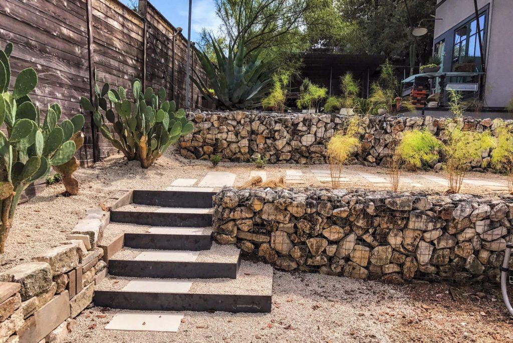 foresightlanddesigncom austin tx 2016 xeric landscape gabion wall reclaimed landscape