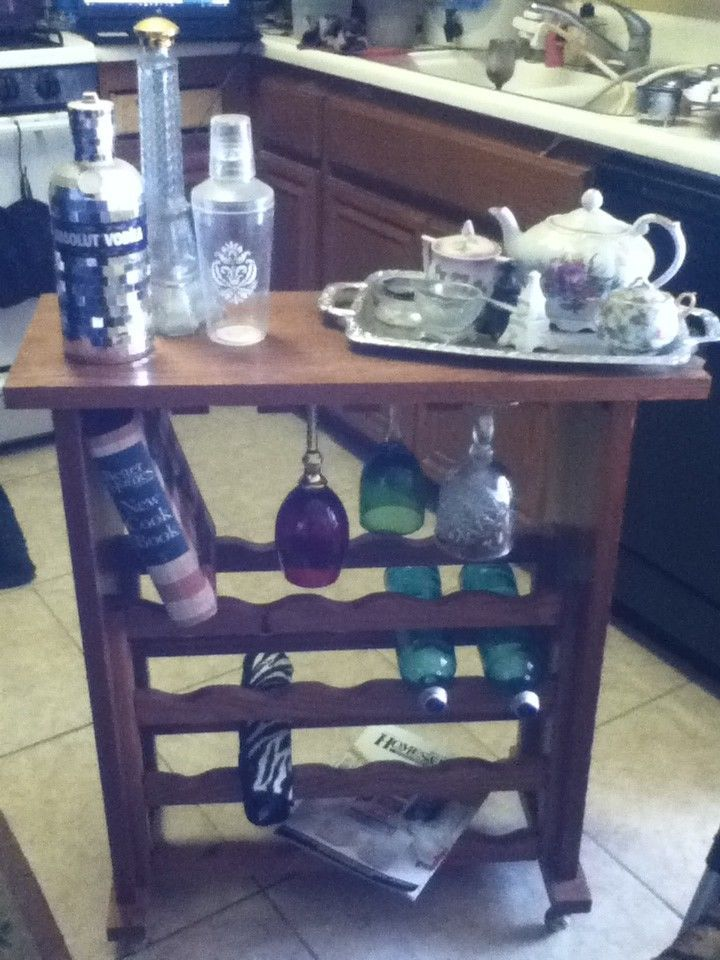 Wood Wine Glass Bottle Bar Storage Roll Cart Book Magazine Towel ...
