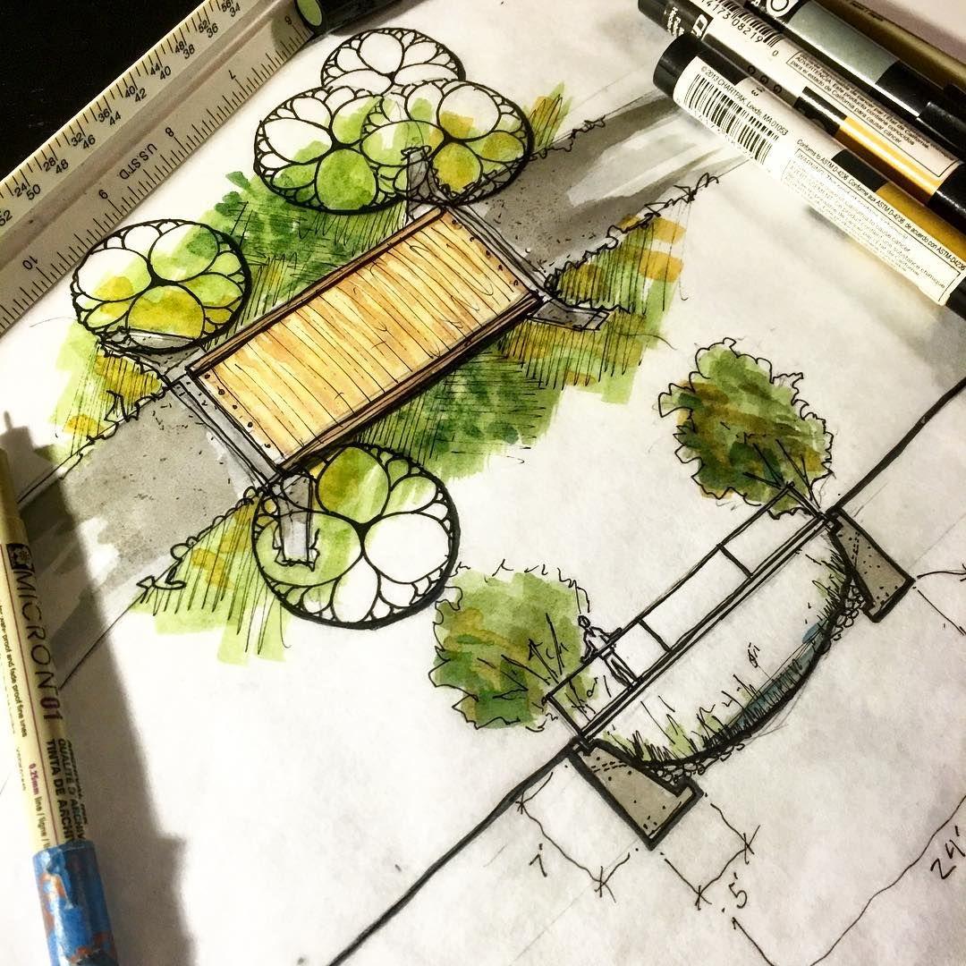 Pedestrian bridge design landscapearchitecture for Landscape design sketches