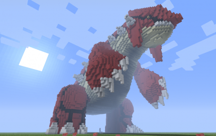 How To Make Pixel Art In Minecraft Bedrock Giant 3d Pixel Art Groudon Creation 1015 Minecraft Art Pixel Art Pokemon