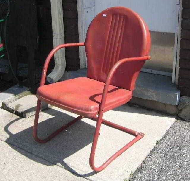 Vintage Lawn Chairs | Sold Vintage Metal Lawn Patio Chair Old Red Paint U2013  Green Spot