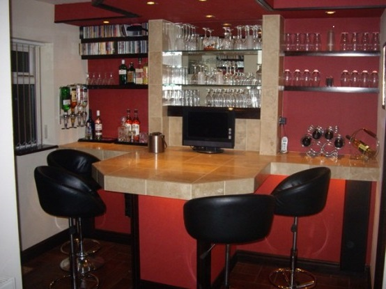 Furniture, Small Home Bar Counters Cherry Stools Shop Furniture Cafe ...